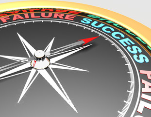 Abstract compass with needle pointing the word success. Success concept