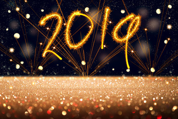New Year text 2019, fireworks, stars sky, glittered floor, abstract background