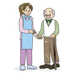 介護士とおじいさん