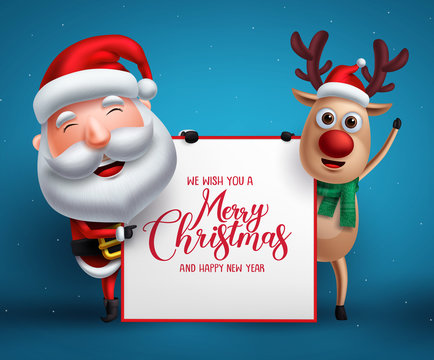 Merry christmas greeting template with santa claus and reindeer vector characters holding empty white board for christmas list in blue background. Vector illustration.