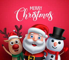 Merry christmas greeting text with santa claus, reindeer and snowman vector characters happy sing christmas carol in red background. Vector illustration.