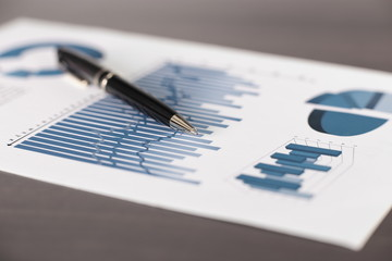 business background.a pen and a sheet with a financial report on the table - fototapety na wymiar