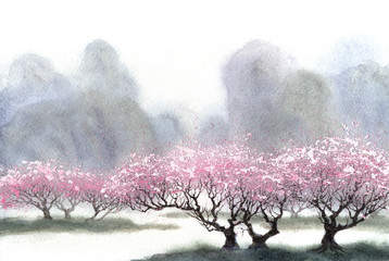 Obraz na płótnie kwitnące drzewa