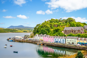 landscape of the Portree harbor in scotland, uk