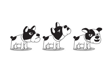 Vector cartoon character bulldog poses for design.