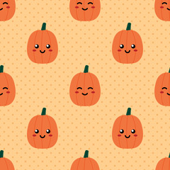 Cute smiling pumpkins emoji characters and dots seamless pattern background for autumn, fall design.