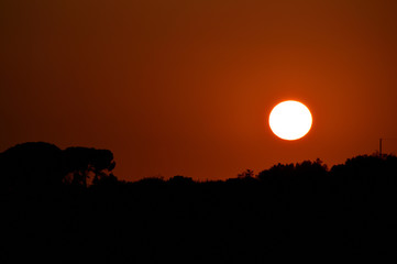 Deurstickers Rood paars View of a Beautiful Sicilian Sunset, Landscape, Italy
