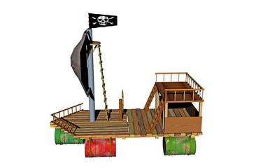 Hölzernes Piratenboot
