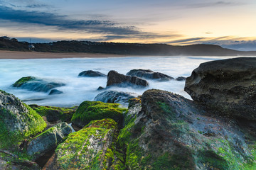 Soft Cascades and Green Moss Sunrise Seascape