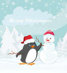 Merry Christmas card with penguin and a snowman