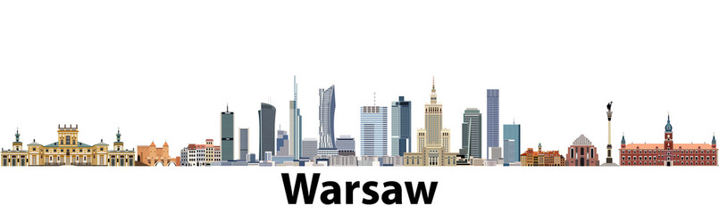 Fototapete - Warsaw vector city skyline