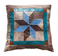 top view of handmade leather decorative pillow