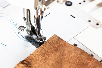 leather piece and presser foot of sewing machine