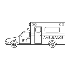 Medical ambulance service car in the line art style