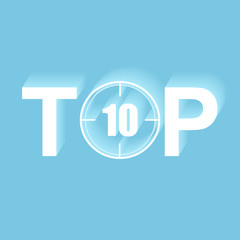 The inscription TOP 10 with a shadow on a blue background
