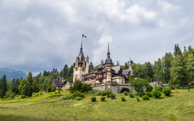 Peles Castle from Sinaia with Clouds Sky