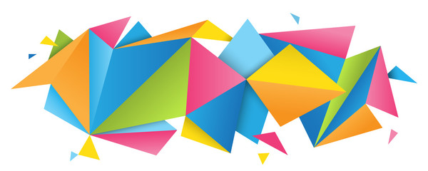 Colorful abstract folded paper triangles banner