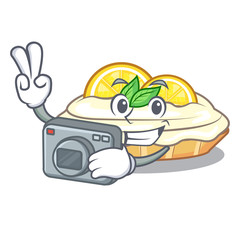 Photographer cartoon piece of yummy lemon meringue pie