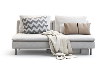 Modern white textile sofa with pillows and plaid. 3d render