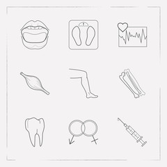 Set of anatomy icons line style symbols with mouth, tooth, syringe and other icons for your web mobile app logo design.