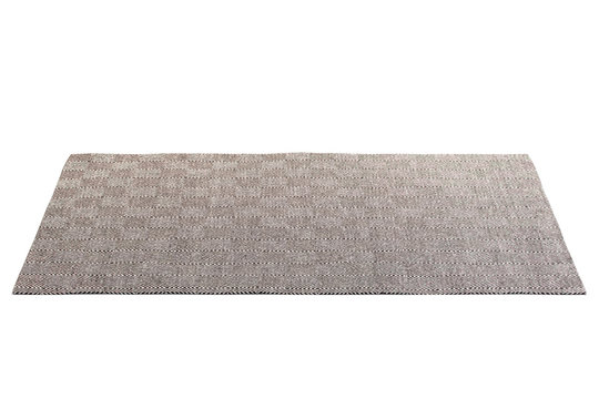 Modern brown rug with white geometric pattern. 3d render