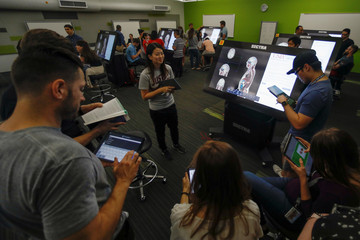 First-year medical student  Jenny Hong participates with classmates, in their virtual anatomy class at the UNLV School of Medicine in Las Vegas