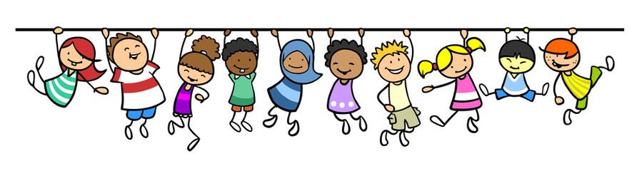 Kinder hängen an Linie als Trennlinie Dekoration
