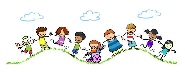 Kinder halten Hände für Frieden und Gemeinschaft