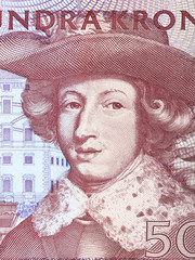 Charles XI of Sweden, portrait from old Sweden money