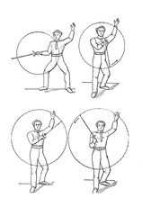 Retro illustration of a fencing