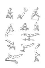 Retro illustration of acrobatics