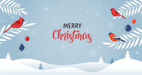 Merry Christmas background with Xmas trees, greeting card, poster and banner