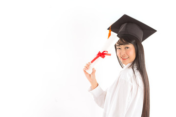 Beautiful Attractive Graduated Asian woman in cap holding certificated and showing thumbs up good hand sign feeling so proud and happiness,Isolated on white background,Education Success concept