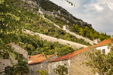 View of Ston town and its defensive walls, Peljesac Peninsula, Croatia. Ston was a major fort of the Ragusan Republic.
