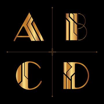 art deco alphabet design letters vintage vector (a, b, c, d)