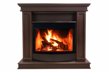 Brown burning fireplace isolated on white background