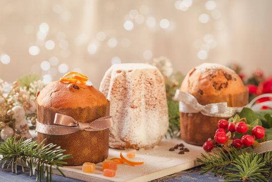 Panettone and pandoro Italian Christmas cakes.