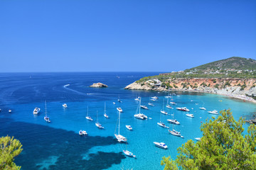 Cala d'Hort bay with beach on Ibiza island