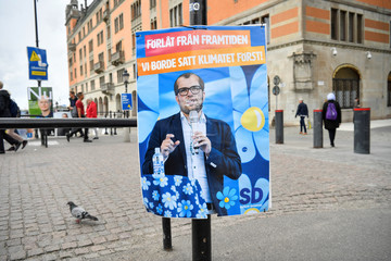 A fake election poster by environmental organisation Greenpeace shows a picture of Sweden Democrats party leader Jimmie Akesson, in central Stockholm