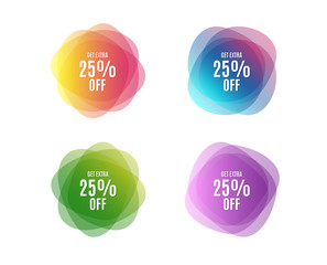 Fototapeta Get Extra 25% off Sale. Discount offer price sign. Special offer symbol. Save 25 percentages. Colorful round banners. Overlay colors shapes. Abstract design extra discount concept. Vector obraz