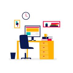 Office interior, business, work. Flat design vector illustration.