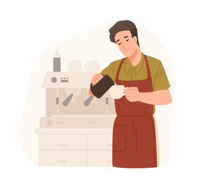 Cute barista making cappuccino at cafe or coffeeshop. Smiling young man in apron adds cream or milk in coffee. Male cartoon character preparing drink. Colorful vector illustration in flat style.