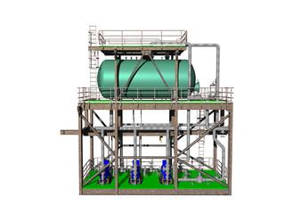 Grüner Stahltank im Gerüst