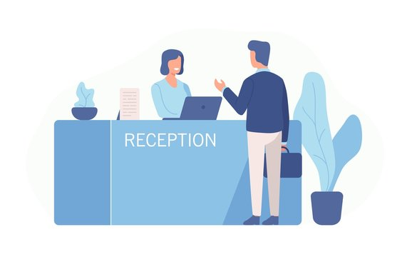 Male customer standing at reception desk and talking to female receptionist. Scene of visit to service center isolated on white background. Colorful vector illustration in flat cartoon style.