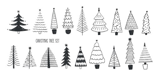 Collection of various firs, pines or spruces drawn with contour lines. Bundle of winter coniferous forest Christmas trees isolated on white background. Monochrome vector illustration in doodle style.