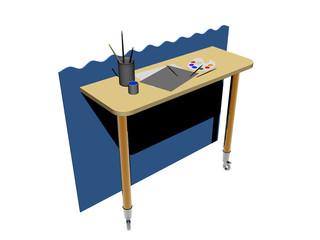 Holztisch mit Malutensilien
