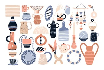 Bundle of modern ceramic household utensils and tools or pottery - cups, dishes, bowls, vases, jugs. Set of items for home decoration isolated on white background. Flat cartoon vector illustration.