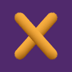 Orange Fur Uppercase Letter X, Alphabet Made Of Fur Texture - Vector