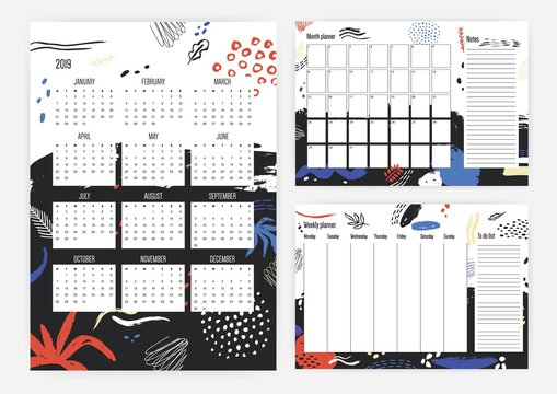 Collection of year 2019 calendar, monthly and weekly planner templates with colorful scribble, smudges, blots and paint traces on background. Schedule or timetable. Artistic vector illustration.