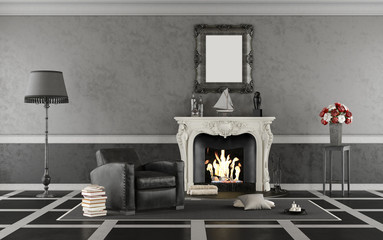 Black and white classic living room with fireplace